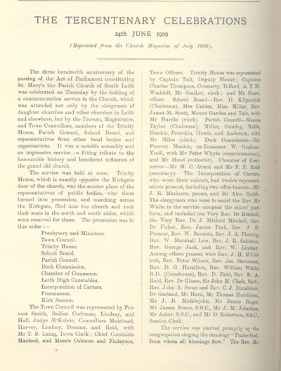 The Tercentenary of South Leith Church 24th June 1909