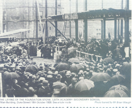 Laying of the Foundation Stone of Leith Academy 1928