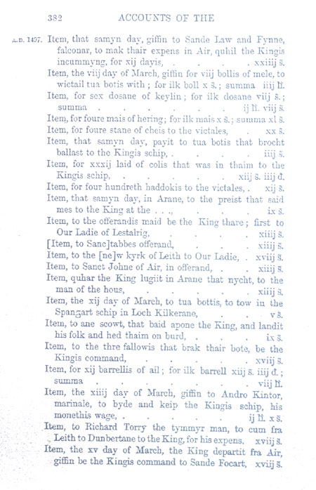 Accounts of James IV showing a pay to South Leith Parish Church