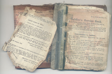 George Baxters Service Book stained with sweat