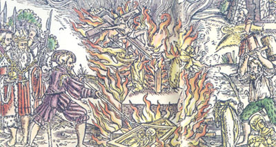 This woodcut by Holbein shows the level of destruction of Catholic images at the time of the Reformation