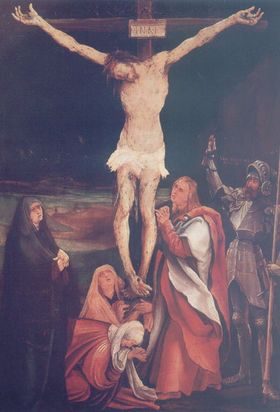 Christ on the Cross with the three maries, St John the Evangelist and St Longinus