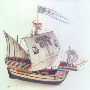 Model of the Yellow Carvel Captained by Sir Andrew Wood during the reigns of James III and IV