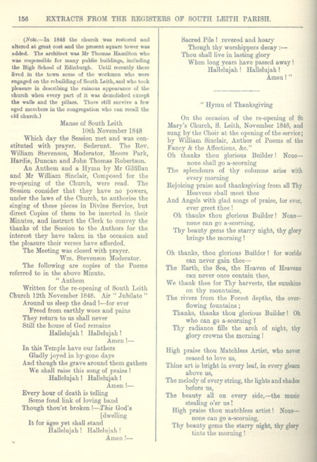 A hymn of Thanksgiving for the Restoration of South Leith Parish Church 1848