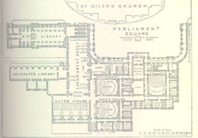 Plan of the Old Parliament Building now Law Courts Edinburgh