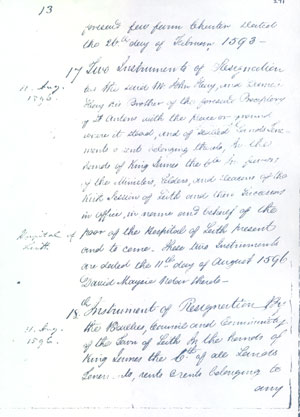 All property which was owned by the preceptory is returned to King James VI 1596