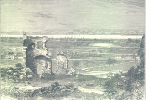 Ruins of St Anthony's chapel looking towards Leith