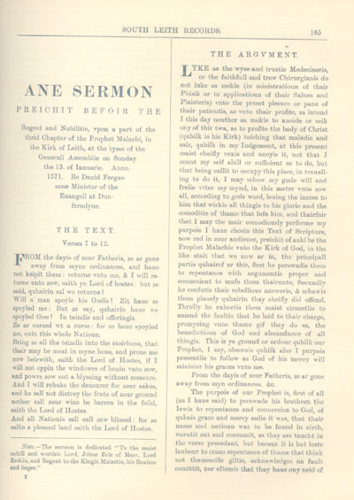 South Leith Sermon 1571 preached before the Regeant