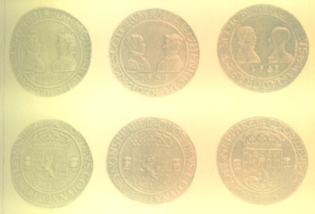 "Three coins struck at the time of Mary's marriage to Darnley. The right hand version is the famous ""Ryal"" later withdrawn with Darnley appearing first before Mary."